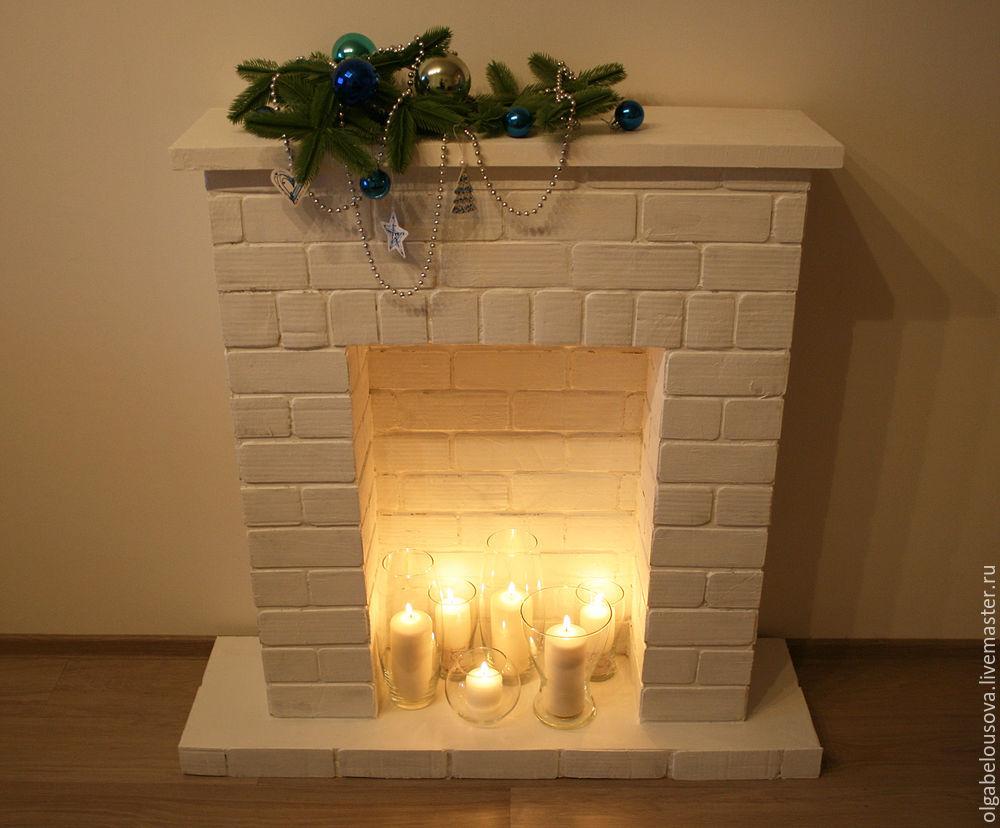 декоративный камин своими руками фото из картона под действием света